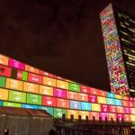 Projection des objectifs de développement durable sur le bâtiment des Nations Unies à New-York